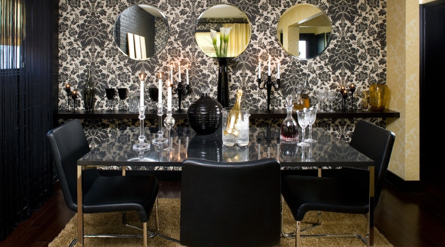 Renovation designs by colin justin verzun luxury real for Dining room ideas gold