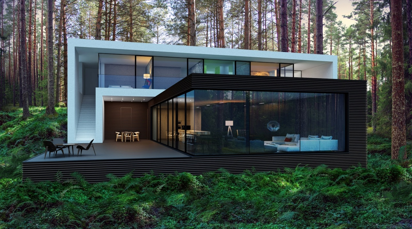 3 house in the woods by alexander zhidkov